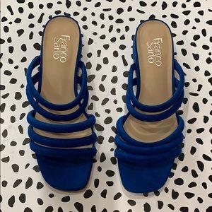 Franco Sarto Square Toe Blue Sandals